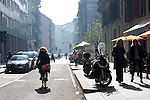 Milano, Corso Garibaldi,ottobre2015, woman on a bicycle