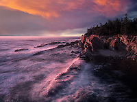 Rock formations,  waves and sunset at Shore Acres State Park, Oregon