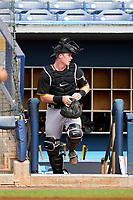 FCL Pirates Black catcher Henry Davis (32) takes the field in the bottom of the first inning during a game against the FCL Rays on August 3, 2021 at Charlotte Sports Park in Port Charlotte, Florida.  Davis was making his professional debut after being selected first overall in the MLB Draft out of Louisville by the Pittsburgh Pirates.  (Mike Janes/Four Seam Images)