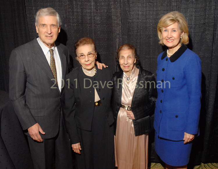 Dr. George Noon, Lois DeBakey, Selma DeBakey and Senator Kay Bailey Hutchison at the Open Door Mission dinner at the Hilton Americas Houston Wednesday Feb. 18, 2009.(Dave Rossman/For the Chronicle)