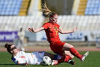 20180228 - LARNACA , CYPRUS :  Belgian Jana Coryn (r) pictured being tackled by Czech Jana Sedlackova (left) during a women's soccer game between The Belgian Red Flames and the Czech Republic , on wednesday 28 February 2018 at GSZ Stadium in Larnaca , Cyprus . This is the first game in group B for Belgium during the Cyprus Womens Cup , a prestigious women soccer tournament as a preparation on the World Cup 2019 qualification duels. PHOTO SPORTPIX.BE   DAVID CATRY