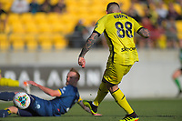 Phoenix's Gary Hooper scores during the A-League football match between Wellington Phoenix and Central Coast Mariners at Westpac Stadium in Wellington, New Zealand on Saturday, 4 January 2020. Photo: Dave Lintott / lintottphoto.co.nz