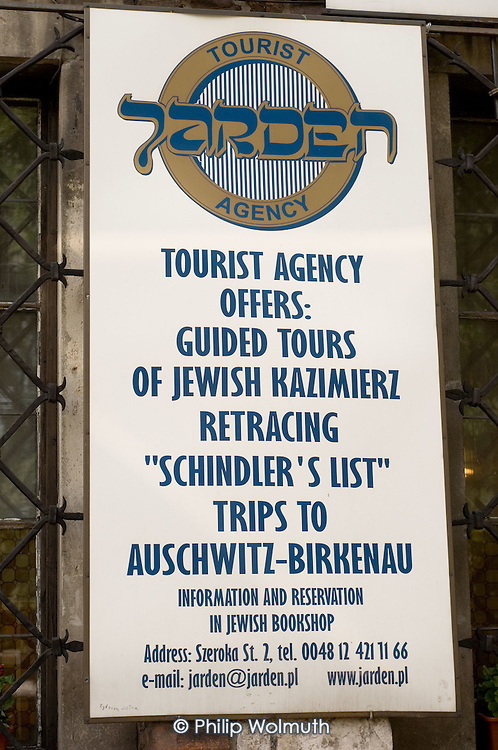 Schindlers List tours advertised in Kazimierz, the pre-Second World War Jewish district of Krakow.  One of a number of ventures set up by local non-Jewish Poles to exploit the city's Jewish history by catering to growing tourist interest in Holocaust memorabilia.