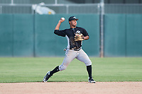 Chicago White Sox second baseman Lenyn Sosa (13) throws to first base during an Instructional League game against the Oakland Athletics at Lew Wolff Training Complex on October 5, 2018 in Mesa, Arizona. (Zachary Lucy/Four Seam Images)