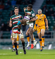 21st May 2021; Twickenham, London, England; European Rugby Challenge Cup Final, Leicester Tigers versus Montpellier; Kini Murimurivalu of Leicester Tigers catches the ball under pressure