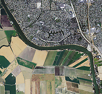 aerial photo map of Sacramento, California at the Sacramento deep river channel, Sacramento County, California