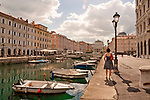 Canal Grande with a Chiesa di Sant'Antonio Taumaturgo at the far end in Trieste, Italy