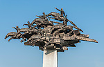 Republic Tree Monument. Sculpture of Horsemen at Kordon Promenade, Izmir, Turkey
