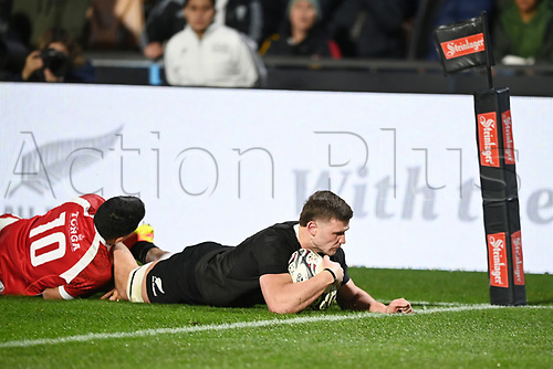 3rd July 2021, Auckland, New Zealand;  Dalton Papalii scores a try. New Zealand All Blacks versus Tonga, Steinlager Series, international rugby union test match. Mt Smart Stadium, Auckland. New Zealand.