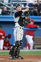 August 2nd 2008:  Catcher Mark Carver of the State College Spikes, Class-A affiliate of the Pittsburgh Pirates, during a game at Dwyer Stadium in Batavia, NY.  Photo by:  Mike Janes/Four Seam Images