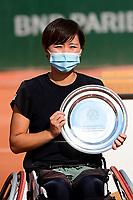 9th October 2020, Roland Garros, Paris, France; French Open tennis, Roland Garr2020;  Ladies singles wheelchair final, Momoko Othani jpn losing finalist