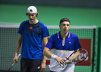 Rotterdam, Netherlands, 11 februari, 2017, ABNAMROWTT,   Doubles Qualyfying round,  Tallon Griekspoor (NED) (R) and Niels Lootsma (NED)<br /> Photo: Henk Koster
