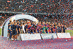FC Barcelona's team celebrates the victory in theSupercup of Spain.August 17,2016. (ALTERPHOTOS/Acero)