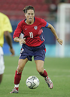 26 August 2004:  Julie Foudy in action during the Gold Medal game against Brazil at Karaiskaki Stadium in Athens, Greece.   USA defeated Brazil, 2-1 in overtime.   Credit: Michael Pimentel / ISI.