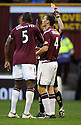 31/10/2009  Copyright  Pic : James Stewart.sct_jspa13_motherwell_v_hearts  . :: EGGERT JONSSON GETS A RED CARD AFTER A LAST MAN CHALLENGE ON JIM O'BRIEN :: .James Stewart Photography 19 Carronlea Drive, Falkirk. FK2 8DN      Vat Reg No. 607 6932 25.Telephone      : +44 (0)1324 570291 .Mobile              : +44 (0)7721 416997.E-mail  :  jim@jspa.co.uk.If you require further information then contact Jim Stewart on any of the numbers above.........