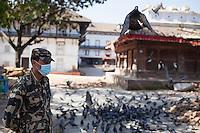 A member of Nepali special force stands guard Kathmandu Durbar Square, Kathmandu, Nepal. May 03, 2015