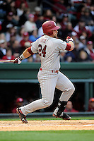 First baseman Brison Celek (24) of the South Carolina Gamecocks bats in a game against the Furman Paladins on Wednesday, April 3, 2013, at Fluor Field at the West End in Greenville, South Carolina. (Tom Priddy/Four Seam Images)
