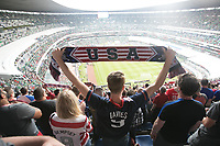 MEXICO CITY, MEXICO - June 11, 2017:  USA fans attend the World Cup Qualifier match against Mexico at Azteca Stadium.