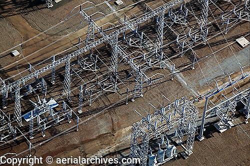 aerial photograph PGE electrical substation, Petaluma, Sonoma county, California