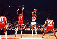In this undated file photo, Washington Bullets (now Washington Wizards) center Wes Unseld (41) in game action against the Philadelphia 76ers at the Capital Centre in Landover, Maryland.  Unseld passed away on June 2, 2020 at the age of 74.<br /> Credit: Arnie Sachs / CNP/AdMedia