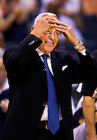 Charlotte Bobcat's Head Coach Larry Brown watches the action as professional basketball teams the Charlotte Bobcats and Orlando Magic battle during game four of the 2010 NBA playoffs. The Charlotte Bobcats, which play in Time Warner Cable Arena in downtown Charlotte, are part of the Southeastern Division of the National Basketball Association's Eastern Conference.