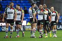 Harlequins players look relieved as they celebrate the last minute try scored by Tom Casson (not pictured) during the Aviva Premiership match between London Irish and Harlequins at the Madejski Stadium on Sunday 28th October 2012 (Photo by Rob Munro)