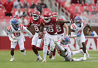 Arkansas wide receiver Treylon Burks (16) carries the ball, Saturday, October 17, 2020 during the third quarter of a football game at Donald W. Reynolds Razorback Stadium in Fayetteville. Check out nwaonline.com/201018Daily/ for today's photo gallery. <br /> (NWA Democrat-Gazette/Charlie Kaijo)