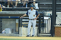 West Virginia Mountaineers head coach Randy Mazey (14) is interviewed between innings of the game against the Wake Forest Demon Deacons in Game Six of the Winston-Salem Regional in the 2017 College World Series at David F. Couch Ballpark on June 4, 2017 in Winston-Salem, North Carolina. The Demon Deacons defeated the Mountaineers 12-8. (Brian Westerholt/Four Seam Images)