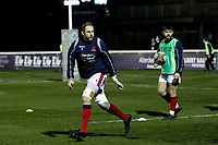 Mark Bright of London Scottish warming up during the Greene King IPA Championship match between London Scottish Football Club and Nottingham Rugby at Richmond Athletic Ground, Richmond, United Kingdom on 7 February 2020. Photo by Carlton Myrie.