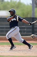 Jason Rogers of the Milwaukee Brewers plays in a spring training game against the Los Angeles Dodgers at the Brewers complex on April 2, 2011 in Phoenix, Arizona. .Photo by:  Bill Mitchell/Four Seam Images.