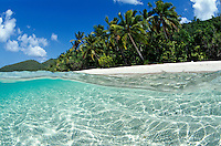 Split level of Little Cinnamon Bay<br /> Virgin Islands National Park<br /> St. John<br /> U.S. Virgin Islands