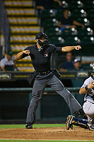Umpire Jon-Tyler Shaw calls a strike during Game One of the Low-A Southeast Championship Series between the Tampa Tarpons and Bradenton Marauders on September 21, 2021 at LECOM Park in Bradenton, Florida.  (Mike Janes/Four Seam Images)