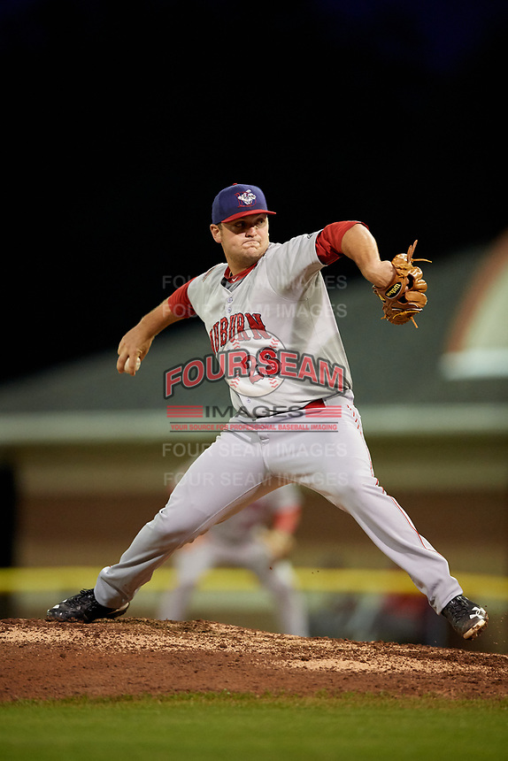 Auburn Doubledays starting pitcher Wil Crowe (23) delivers a pitch during a game against the Batavia Muckdogs on September 6, 2017 at Dwyer Stadium in Batavia, New York.  Auburn defeated Batavia 6-3.  (Mike Janes/Four Seam Images)