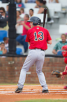 Max Murphy (13) of the Elizabethton Twins at bat against the Johnson City Cardinals at Cardinal Park on July 27, 2014 in Johnson City, Tennessee.  The game was suspended in the top of the 5th inning with the Twins leading the Cardinals 7-6.  (Brian Westerholt/Four Seam Images)