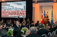 Montréal le 13 février 2016, visite officielle du secrétaire général des Nations unies M. Ban Ki-moon, réception dinatoire au Marché Bonsecours, discours de M. Ban Ki-moon // Montreal, February 13, 2016, Official Visit of UN Secretary-General Ban Ki-moon, Banquet Reception at Bonsecours Market, Address by Mr. Ban Ki-moon<br /> PHOTO :  Agence Quebec presse