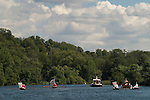 Swan Upping. The River Thames near Henley on Thames rowing towards Wargrave, Berkshire,  England 2007.