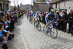 The breakaway group including Pablo Lastras Garcia (ESP) Movistar and Tom Veelers (NED) Argos-Shimano climb Molenberg during the 96th edition of The Tour of Flanders 2012, running 256.9km from Bruges to Oudenaarde, Belgium. 1st April 2012. <br /> (Photo by Eoin Clarke/NEWSFILE).