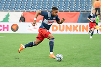 FOXBOROUGH, MA - APRIL 17: Francois Dulysse #60 of New England Revolution II during a game between Richmond Kickers and Revolution II at Gillette Stadium on April 17, 2021 in Foxborough, Massachusetts.