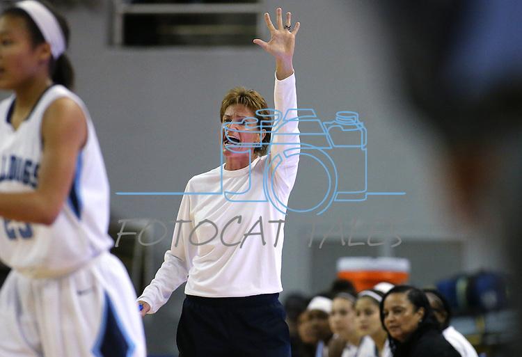 Centennial Head Coach Karen Weitz works the sidelines of a game against Reno during the NIAA state basketball tournament in Reno, Nev. on Thursday, Feb. 25, 2016. Centennial won 82-53. Cathleen Allison/Las Vegas Review-Journal