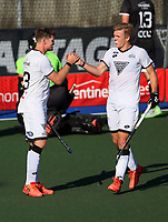 Stephen Jenness and Sam Lane (R) celebrate a goal for South during the Men's North v South hockey match, St Pauls Collegiate, Hamilton, New Zealand. Saturday 17 April 2021 Photo: Simon Watts/www.bwmedia.co.nz