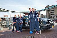 Netherlands, Den Bosch, April 18 2015 Maaspoort, Fedcup Netherlands-Australia,  Dutch team by official car<br /> Photo: Tennisimages/Henk Koster
