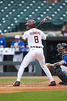 J.C. Flowers (8) of the Florida State Seminoles at bat against the Duke Blue Devils in the first semifinal of the 2017 ACC Baseball Championship at Louisville Slugger Field on May 27, 2017 in Louisville, Kentucky. The Seminoles defeated the Blue Devils 5-1. (Brian Westerholt/Four Seam Images)