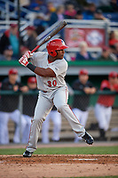 Auburn Doubledays Landerson Pena (30) bats during a NY-Penn League game against the Batavia Muckdogs on June 14, 2019 at Dwyer Stadium in Batavia, New York.  Batavia defeated 2-0.  (Mike Janes/Four Seam Images)