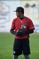 Tri-City ValleyCats pitcher Carlos Hiraldo (15) during practice before a game against the Batavia Muckdogs on July 15, 2017 at Dwyer Stadium in Batavia, New York.  Tri-City defeated Batavia 5-4.  (Mike Janes/Four Seam Images)
