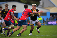 Alex Fidow is tackled during the Mitre 10 Cup rugby match between Wellington Lions and Tasman Makos at Jerry Collins Stadium in Wellington, New Zealand on Saturday, 31 October 2020. Photo: Dave Lintott / lintottphoto.co.nz