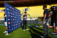 NZ captain Sophie Devine is interviewed after the first international women's T20 cricket match between the New Zealand White Ferns and England at Sky Stadium in Wellington, New Zealand on Wednesday, 3 March 2021. Photo: Dave Lintott / lintottphoto.co.nz