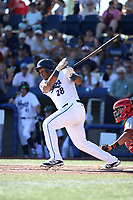 Eudy Ramos (28) of the Hillsboro Hops bats against the Spokane Indians at Ron Tonkin Field on July 22, 2017 in Hillsboro, Oregon. Spokane defeated Hillsboro, 11-4. (Larry Goren/Four Seam Images)