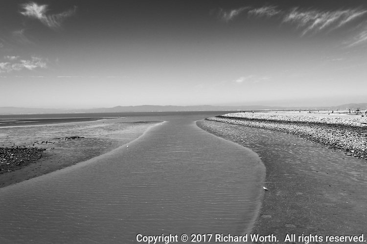 A flood control channel along San Francisco Bay, its waters narrowed and banks widened by low tide on a late summer morning.