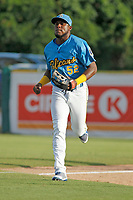 Myrtle Beach Pelicans outfielder Luis Ayala (52) running in to the dugout between innings during a game against the Potomac Nationals at Ticketreturn.com Field at Pelicans Ballpark on July 1, 2018 in Myrtle Beach, South Carolina. Myrtle Beach defeated Potomac 6-1. (Robert Gurganus/Four Seam Images)