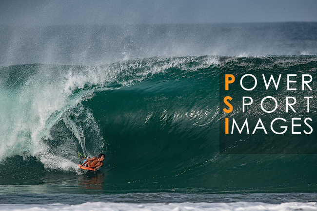 Mexican bodyboarder Juan Carlos rides a wave at Puerto Escondido's Zicatela Beach in Mexico. Photo by Victor Fraile / Power Sport Images